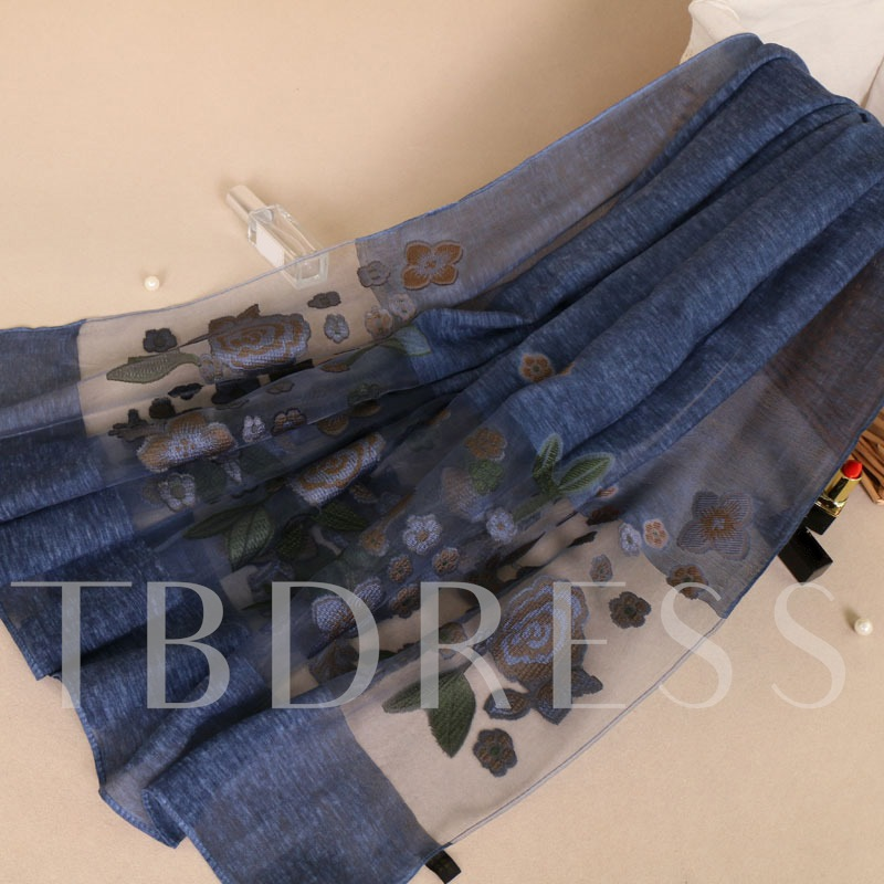 Tie-Dye Cotton Print Embroidery Apparent Scarfs