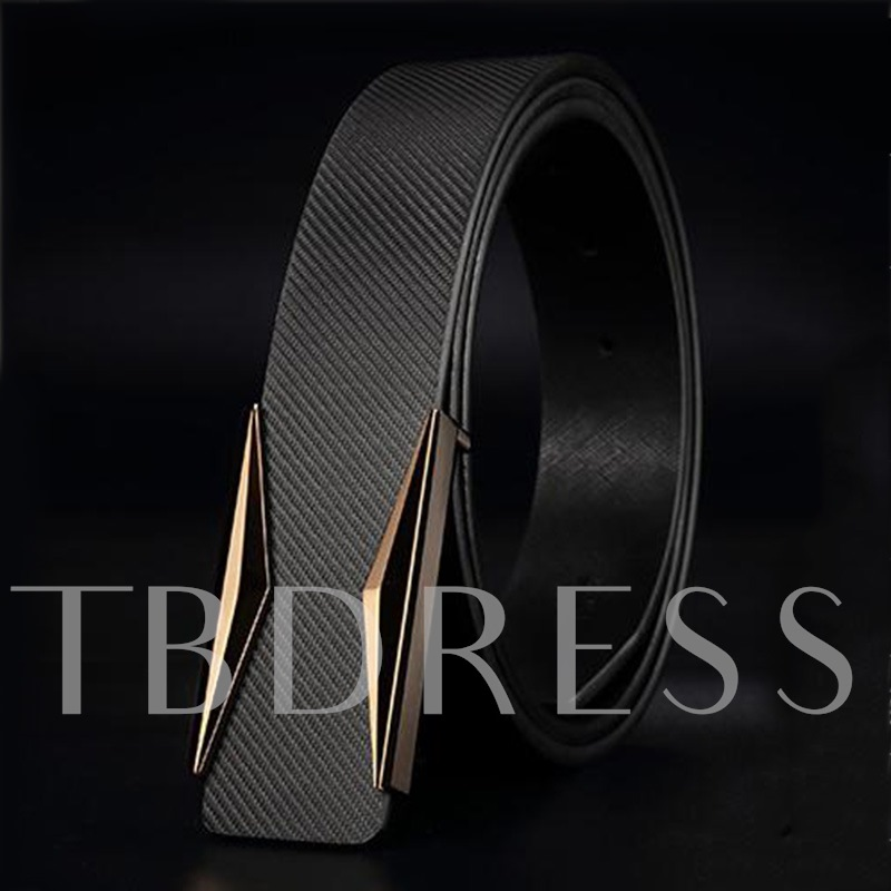 Solid Color Dual Lline Smooth Buckle Personalized Men's Belts