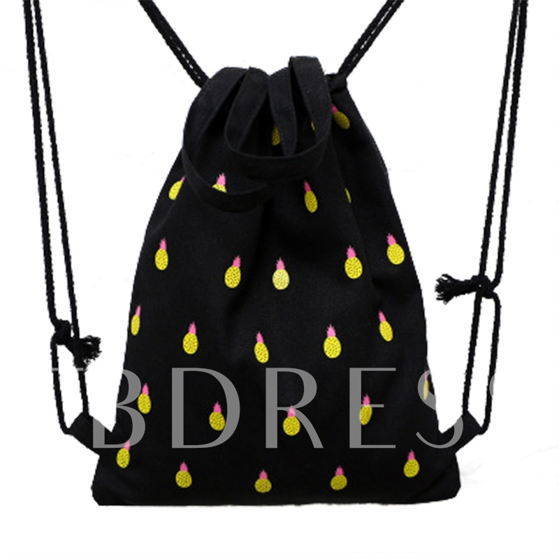 Casual Pineapple Pattern Canvas String Backpack