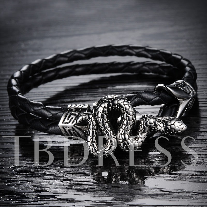 Snake Shaped Black Rope African Men's Bracelet
