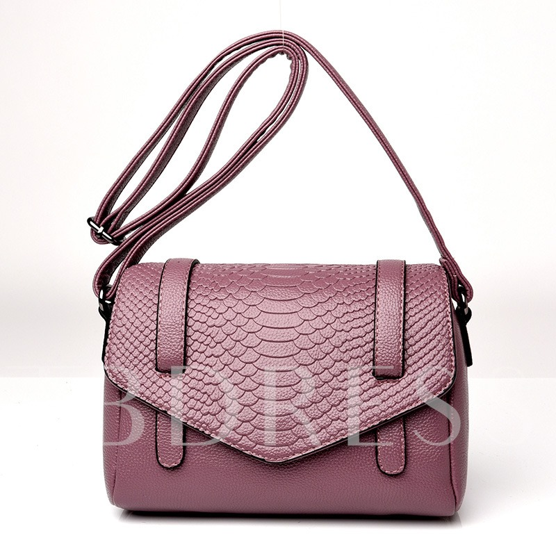Casual Croco-Embossed Solid Color Cross Body