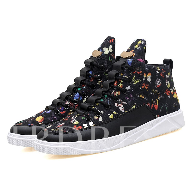 Print Butterfly Patchwork Men's Fashion Sneakers