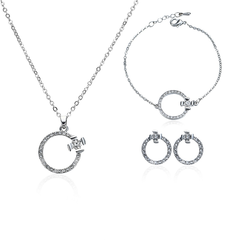 Link Chain Round Diamante Alloy Simple Jewelry Sets