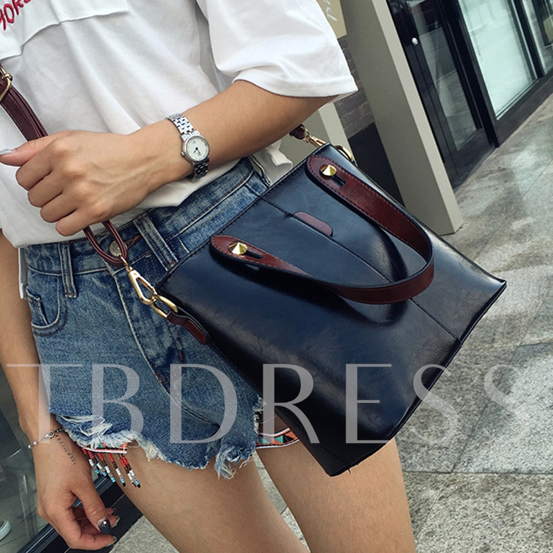 Casual Solid Color PU Cross Body Bag
