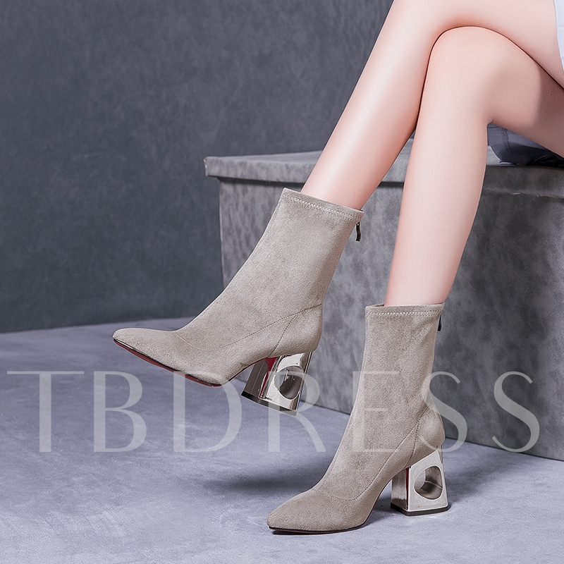 Hollow Heel Suede Solid Women's Ankle Boots