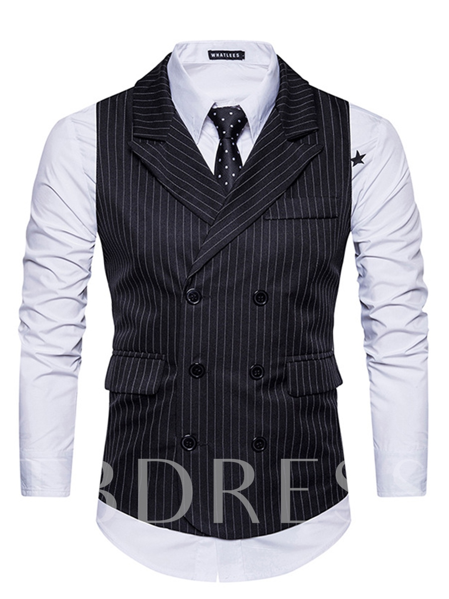 Buy Notched Collar Double-Breasted Stripe Slim Fit Men's Vest, Spring,Summer,Fall,Winter, 12987338 for $22.99 in TBDress store