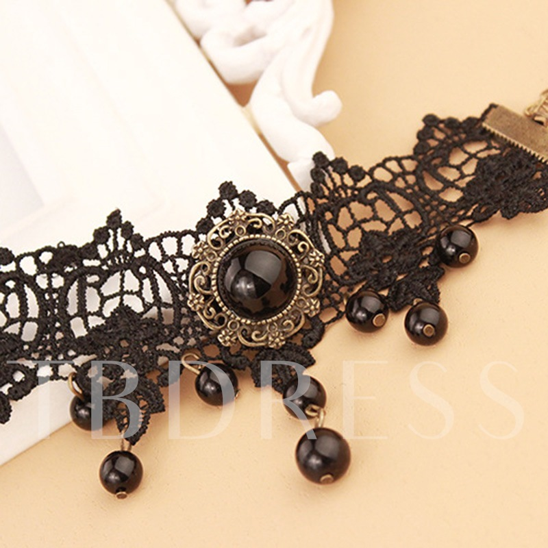 Imitation Pearl Lace Hollow Out Anklet