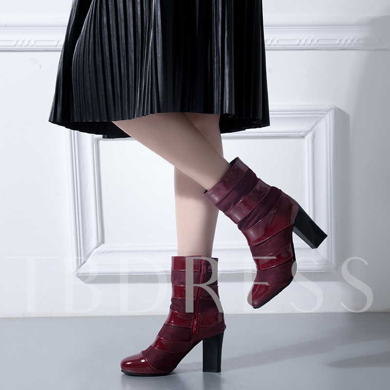 Patchwork Chunky Heel Buckle Women's Ankle Boots