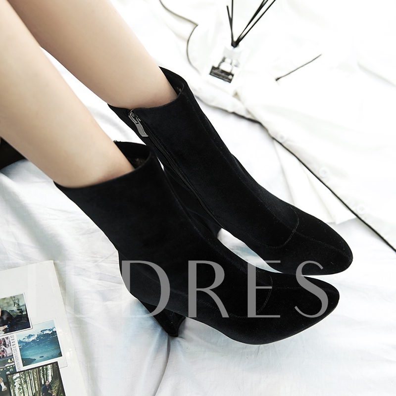 Plain Suede Chunky Heel Zipper Women's Ankle Boots