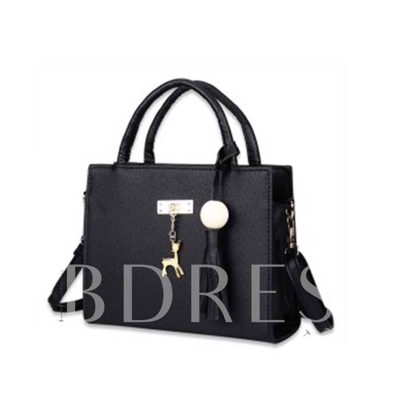 Concise Pendant Solid Color Zipper Tote