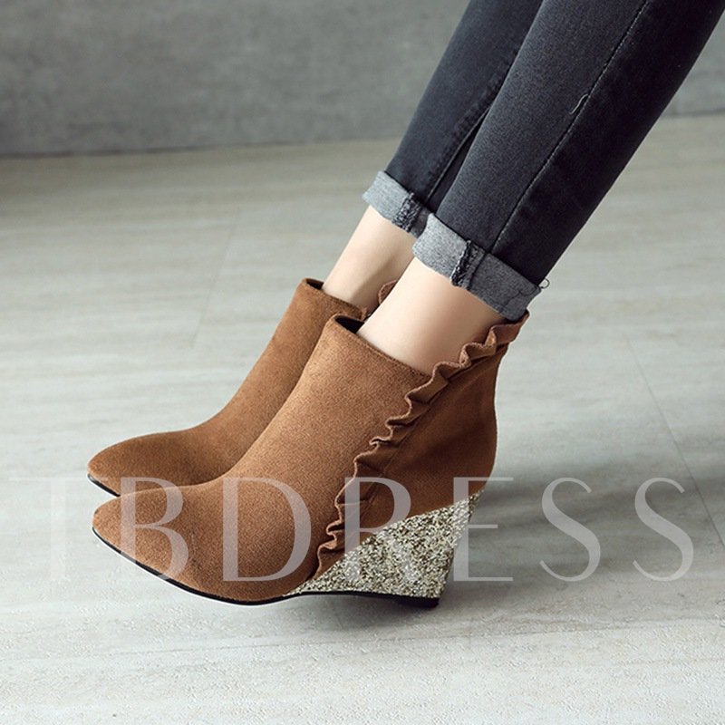 Wedge Heel with Sequins Ruffles Women's Ankle Boots