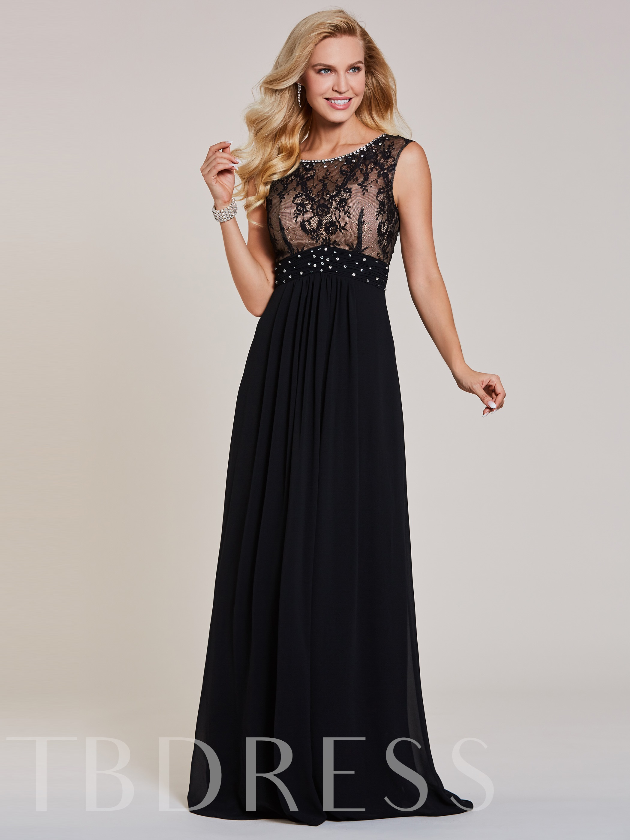 Buy Beaded Scoop Neck Lace Long Evening Dress, Tanpell, Spring,Summer,Fall,Winter, 13027085 for $57.32 in TBDress store