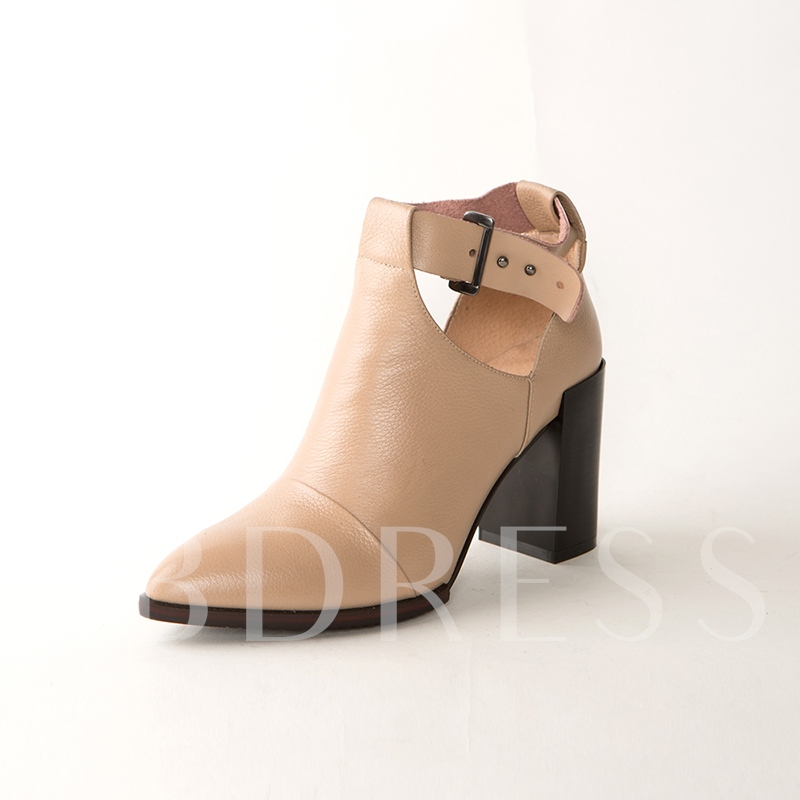 Hasp Chunky Heel Solid Women's Ankle Boots