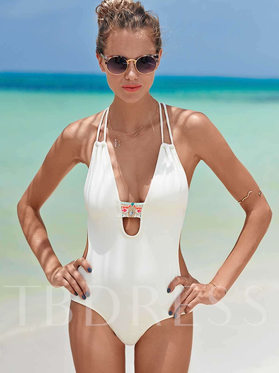 Deep V-Neck Ethnic Print Backless One Piece Swimsuit