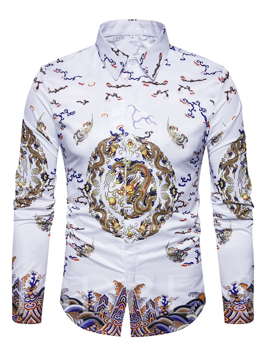 Buy Lapel Chinese Style Ethnic Dragon Print Slim Fit Men's Shirt, Fall,Winter, 12987401 for $22.99 in TBDress store