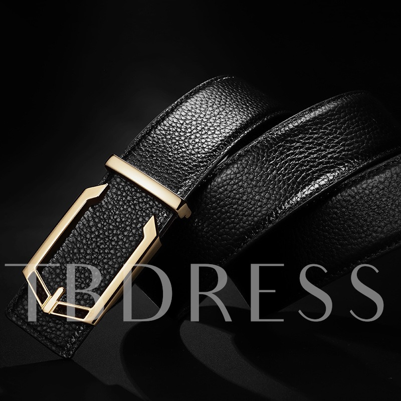 Milled Artificial Leather C Type Alloy Men's Belts