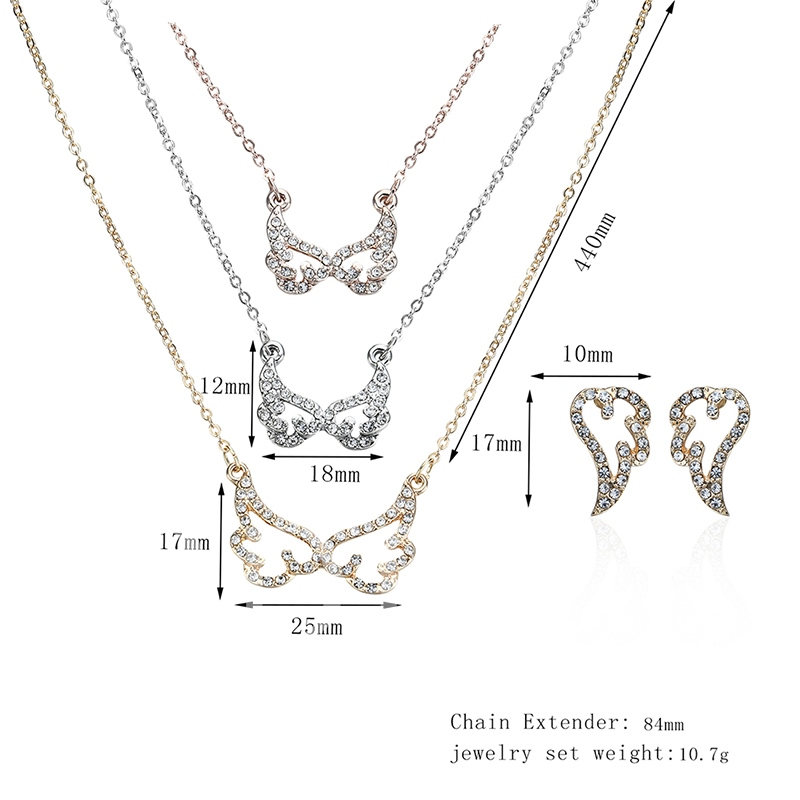 Wing Shaped Alloy Diamante Link Chain Jewelry Sets
