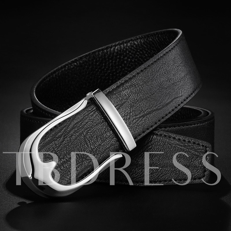 Split Cowhide Smooth Buckle Bark Texture Alloy Men's Belts