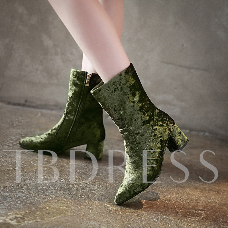 Pointed Toe Short Floss Solid Women's Ankle Boots