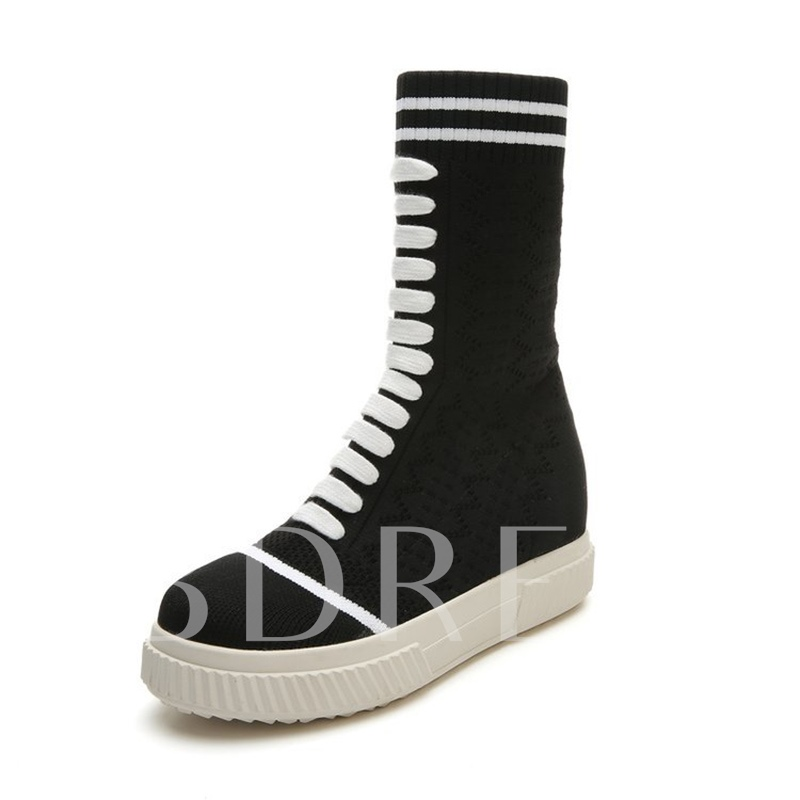 Lace Up Platform Stripe Women's Flat With Half Boots s