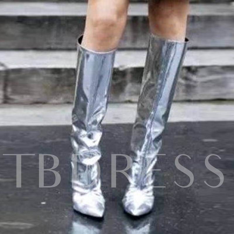 Sliver Half Boots Patent Leather High Heel Shoes