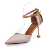 Color Block Buckle Spool Heel Women's Pumps