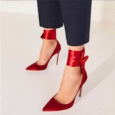Plus Size Shoes Red Satin Lace Up Women's High Heels