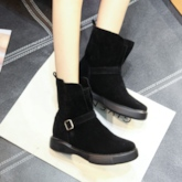 Flat With Shoes Buckle Platform Ankle Boots