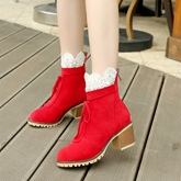 Suede Back Zipper Lace Women's Ankle Boots