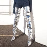 Patent Leather High Heel Women's Sliver Metallic Thigh High Boots