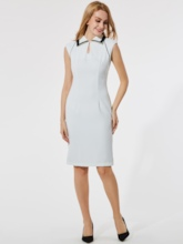 White Lapel Back Zipper Women's Bodycon Dress