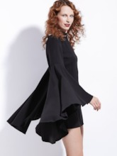 Black Bell Sleeve Women's Sheath Dress
