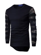 Irregular Round Collar Camouflage Mesh Sleeve Solid Color Slim Fit Men's T-Shirt