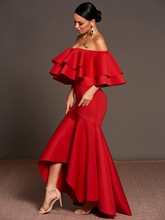 Red off-Shoulder Fishtail Women's Maxi Dress