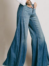 schlichte Retro-Pocket-Bellbottoms Damenjeans
