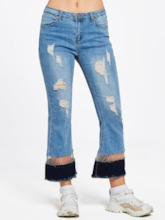 Loose Hollow Tassel Patchwork Hole Ankle Length Women's Jeans