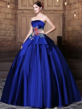 Strapless Ball Gown Embroidery Pick-Ups Floor-Length Quinceanera Dress