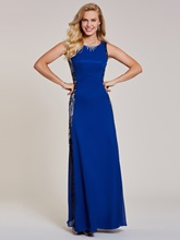 Scoop Neck Sequins Sheath Evening Dress