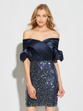 Sheath Sequins Off-the-Shoulder Short Sleeves Cocktail Dress