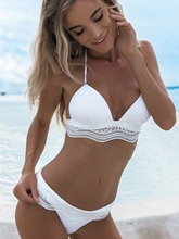 Plain Lace Bandage Bikini Set