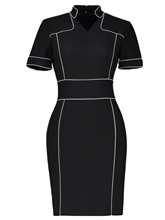 Black Short Sleeve Women's Sheath Dress