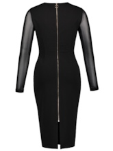 Black Back Zippered Patchwork Women's Sheath Dress