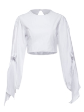 Knitted Sleeve Round Neck Plain Women's Blouse