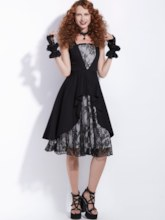 Black Lace Patchwork Tiered Women's Day Dress