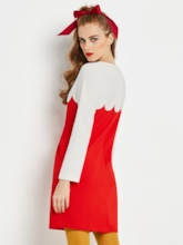 Red Round Neck Long Sleeve Women's Day Dress