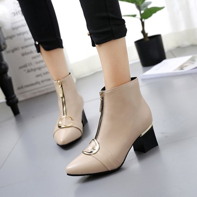 Front Zipper Circle Chunky Heel Women's Solid Boots