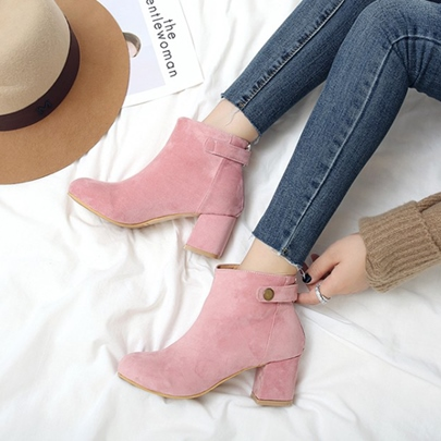 Multiple Color Chunky Heel Womens Ankle Boots