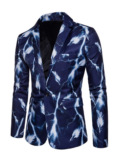 Notched Collar One Button Splash-Ink Printed Slim Fit Men's Casual Blazer