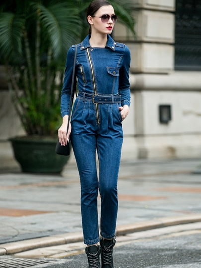 Slim Denim Belt High Waisted Zipper Women's Jumpsuits