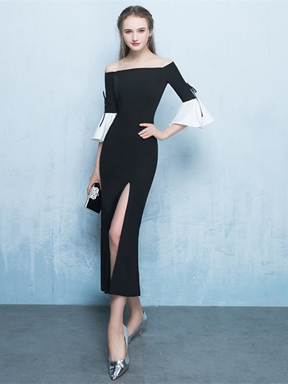 Sheath Off-the-Shoulder Split-Front Evening Dress